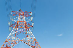 Single electricity power line pylon Stock Images