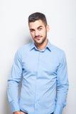 Single elegant man in blue shirt Royalty Free Stock Photos