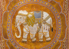 Single embroidered elephant. It is a handmade artwork that has a beautiful and precious stock photos