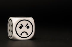 Single emoticon dice with angry expression sketch Royalty Free Stock Photo