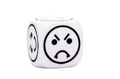 Single emoticon dice with angry expression sketch Stock Photo