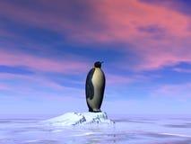 Single emperor penguin - 3D render. Single emperor penguin standing on an iceberg by sunset - 3D render vector illustration