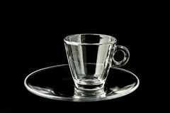 Single empty glass coffee cup on black background Royalty Free Stock Photography