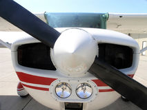 Single Engine Aircraft. Power plant, looking up it's nose stock image