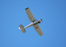 Single engine hobby plane. Single engine airplane in flight royalty free stock image