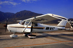 Single Engine Prop Plane. A small single engine prop plane parked Stock Photos