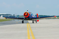 A single-engined advanced trainer aircraft North American T-6 Texan. Royalty Free Stock Image