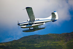 Single engined seaplane coming in to land Stock Photo