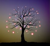 Single fairy tree with red lanterns and sparkles, tree and fireflies in the evening,. Vector Stock Photos