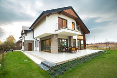 Single-family home with patio Stock Photo