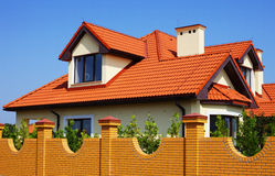 Single family house. With red roof Royalty Free Stock Photo