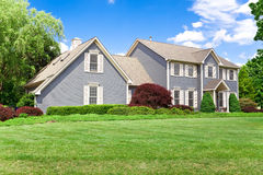 Single Family House Colonial Georgian Lawn. Single family house on large plot of land in suburban Maryland Royalty Free Stock Images