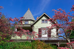 Single Family House Home Victorian Queen Anne Fall. Victorian Queen Anne style home known as a painted lady suburban Maryland Royalty Free Stock Image