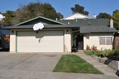 Single family house one story with driveway Stock Images
