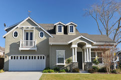 Single family house two storys with driveway Royalty Free Stock Photo