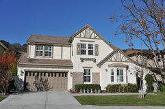 Single family house two storys with driveway Royalty Free Stock Photography
