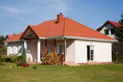 Single family small house. In bright color against blue sky Royalty Free Stock Image