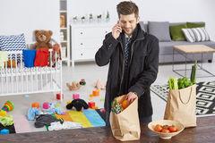 Single father with shopping bags Stock Images