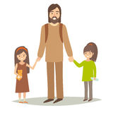 Single father with two young daughter. Happy hipster family young group: little sisters and father stock illustration