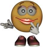 Single Female Emoticon. Isolated on White Royalty Free Stock Image