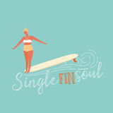 Single fin longboard surfing illustration with balancing surfer girl.  text quote poster    on a  rides  wave.  in retro Stock Photos