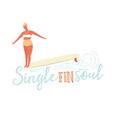 Single fin longboard surfing illustration with balancing surfer girl.  text quote poster    on a  rides  wave.  in retro Royalty Free Stock Photos