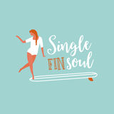 Single fin longboard surfing illustration with balancing surfer girl.  text quote poster    on a  rides  wave.  in retro Royalty Free Stock Photography