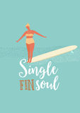 Single fin longboard surfing illustration with balancing surfer girl.  text quote poster    on a  rides  wave.  in retro Stock Image