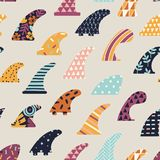 Single fin surfing seamless pattern in vector. Single fin surfing seamless pattern in vector Royalty Free Stock Images