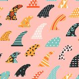 Single fin surfing seamless pattern in vector. Single fin surfing seamless pattern in vector Royalty Free Stock Photo
