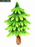 Single fir tree. Watercolor painting. Vector illustration Stock Photos