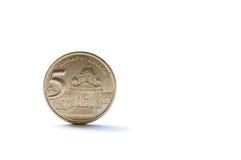 Single five Serbian dinara coin Stock Photos