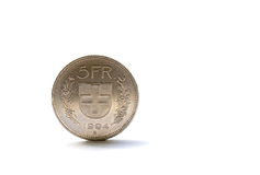 Single five Swiss franc coin Royalty Free Stock Photos