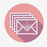 Single flat mail icon with long shadow. Vector. Illustration. Few envelopes with ribbon Royalty Free Stock Images