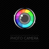 Single Flat Photo Camera Icon. Vector Illustration of a Single Flat Photo Camera Icon Stock Images