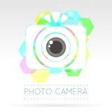Single Flat Photo Camera Icon. Vector Illustration of a Single Flat Photo Camera Icon Royalty Free Stock Image