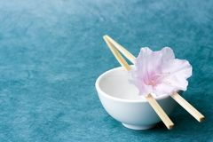 Single flower in a rice bowl; wide view, layout space Royalty Free Stock Photos
