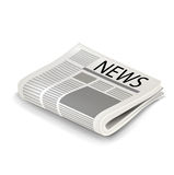 Single folded newspaper isolated Royalty Free Stock Images