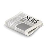 Single folded newspaper isolated vector illustration