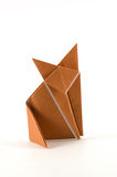 Single fox origami. A fox origami made of a brown sheet of paper Royalty Free Stock Photography