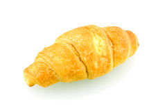 Single fresh croissant. Fresh single croissant isolated on white background Royalty Free Stock Photography