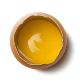 Single fresh egg yolk on white background Royalty Free Stock Photo