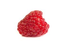 Single fresh raspberry, isolated on  white. Close up macro shot. Single fresh sweet raspberry. Isolated over white background. Close up macro shot. Image was Royalty Free Stock Image