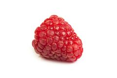 Single fresh raspberry, isolated on  white. Close up macro shot. Single fresh sweet raspberry. Isolated over white background. Close up macro shot. Image was Royalty Free Stock Photos