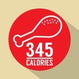 Single Fried Chicken 345 Calories Symbol Stock Photos