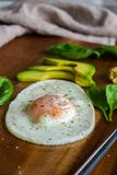 Fried egg with spinach, avocado and hummus Royalty Free Stock Photos