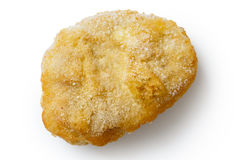 Single frozen battered chicken nugget uncooked and isolated on w Royalty Free Stock Photography