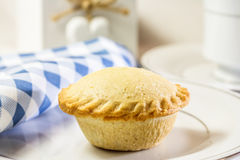 Single Fruit Pie Still Life. With blue and white napkin Stock Photography