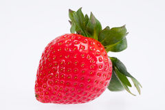 Single fruit of red strawberry isolated on white background.  Royalty Free Stock Image