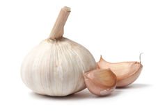 Single garlic bulb with two cloves Stock Images